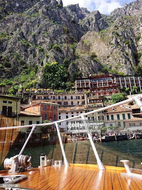 view of limone sul garda coastline seen from boat - rachel wolfe stock pictures, royalty-free photos & images