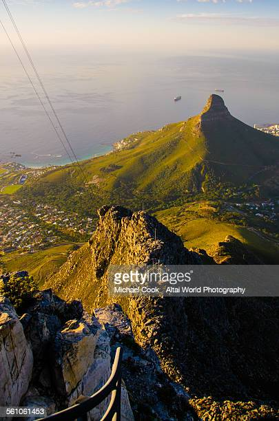 view of lions head mountain from table mountain - table mountain stock pictures, royalty-free photos & images