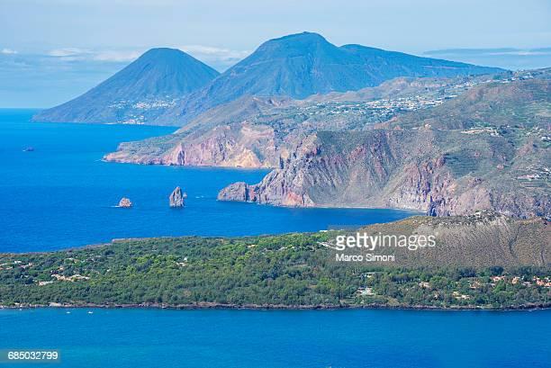 View of Lipari and Salina Island, Vulcano Island, Aeolian Islands, UNESCO World Heritage Site, Sicily, Italy, Mediterranean, Europe
