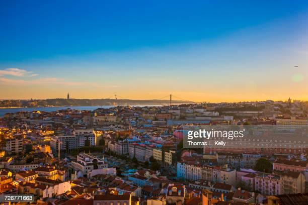 A view of Lisbon city with the 25 de Abril Bridge from Miradouro da Graca