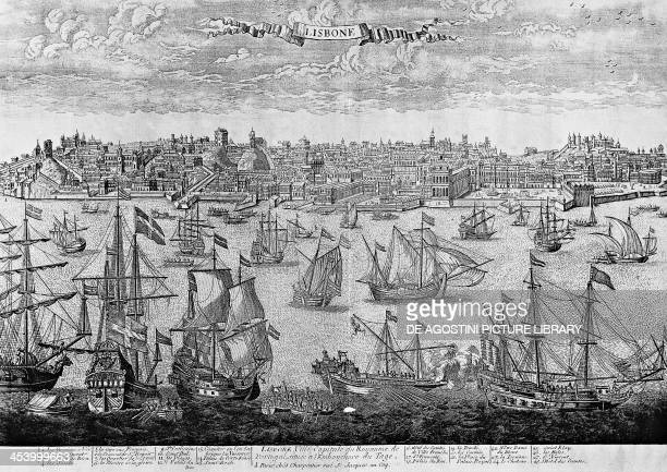 View of Lisbon engraving Portugal 16th century