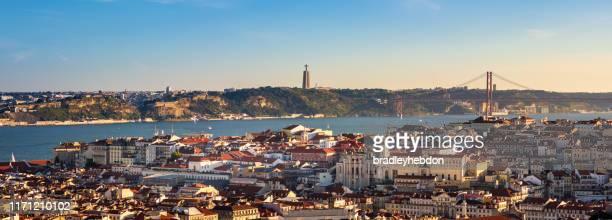 view of lisbon, portugal from miradouro da senhora do monte - lisbon stock pictures, royalty-free photos & images