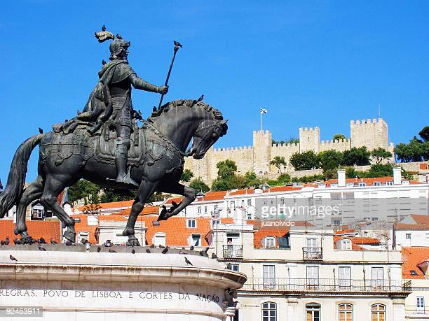 View of Lisbon Square with horse statue and castle