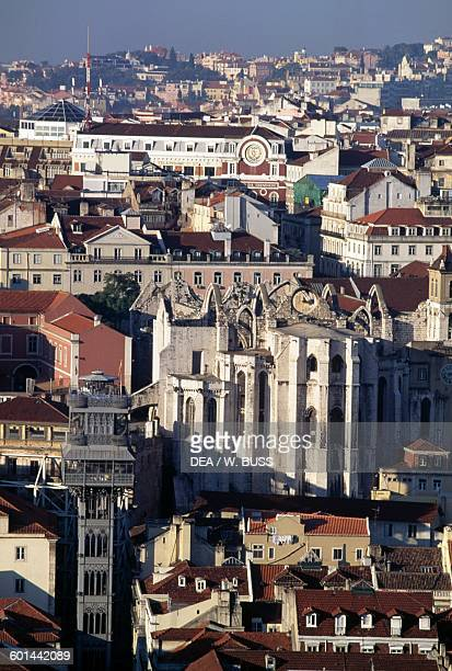 View of Lisbon with the Carmo convent and church in the foreground Portugal
