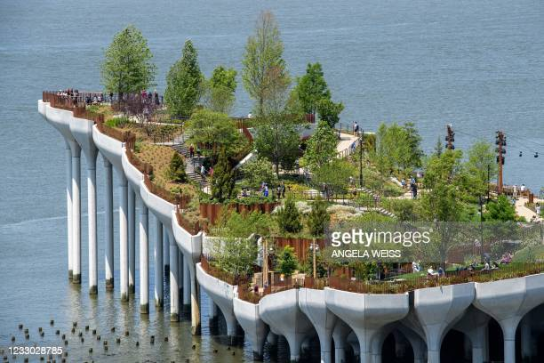 View of 'Little Island', a new, free public park in Hudson River Park on May 21, 2021 in New York City. - On 132 huge concrete tulips installed on...