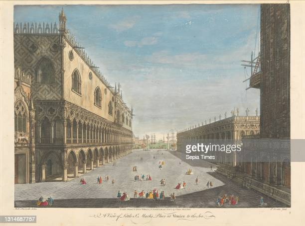 View of Little St. Mark's Place at Venice to the Sea, Thomas Bowles, ca. 1712–died 1753, British, after unknown artist, , undated, Hand-colored...