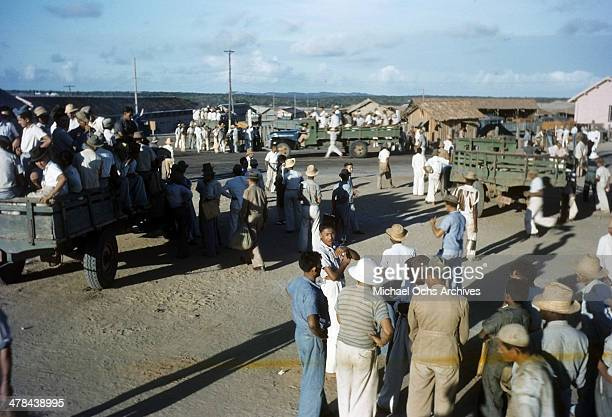 A view of local Brazilian workers at the Parnamirim airport at the US Army and Air Force base in Natal Brazil