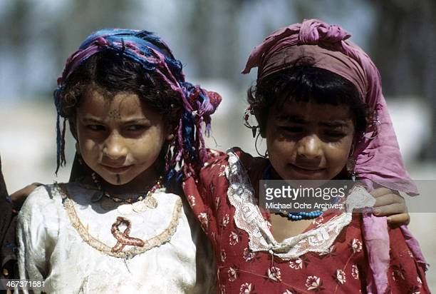 A view of local Libyanese girls wearing regional clothes pose in the street in Benghazi Libya