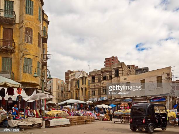 View of local market in a backstreet of Alexandria, Egypt