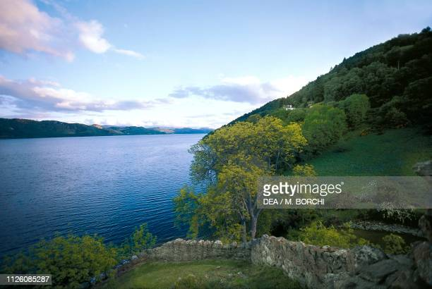 View of Loch Ness at sunset Highlands Scotland United Kingdom