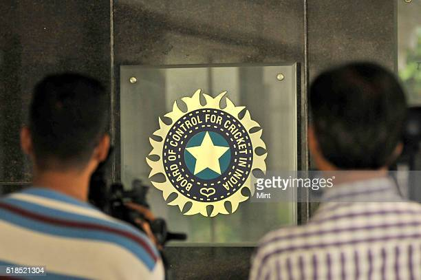 View of logo of the Board of Control for Cricket in India during a Council meeting of the Indian Premier League at BCCI headquarters on July 19, 2015...