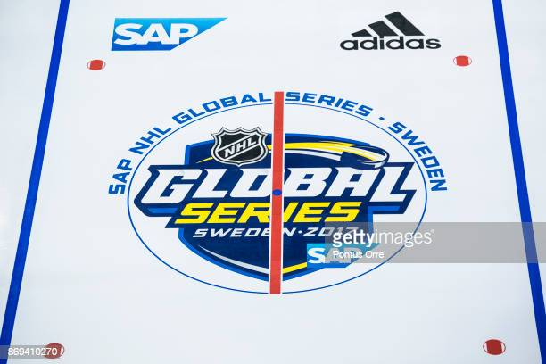 View of logos and lines during the rink build out ahead of the SAP NHL Global Series between Ottawa Senators and Colorado Avalanche at Ericsson Globe...