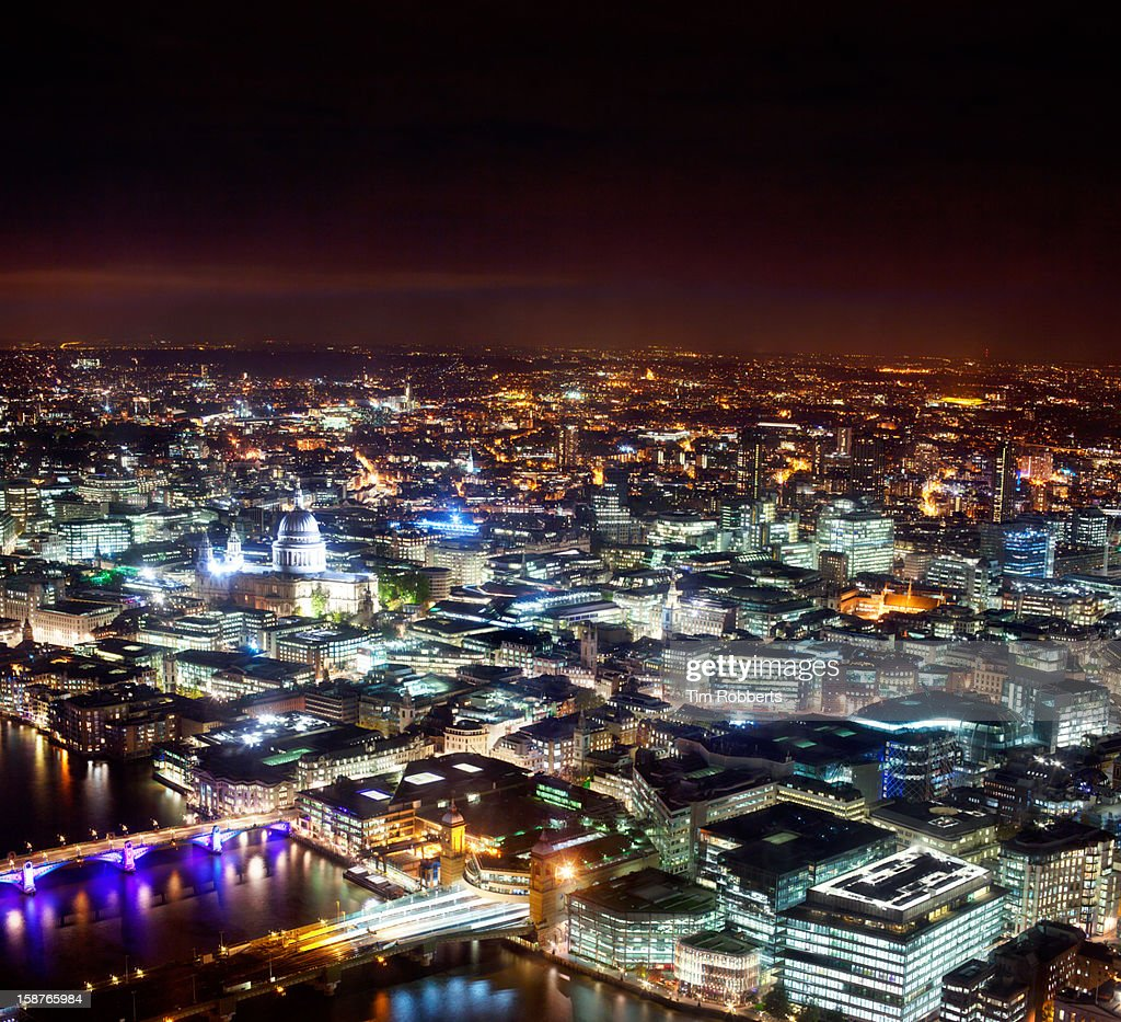 View Of London And St Pauls Cathedral At Night Stock Photo