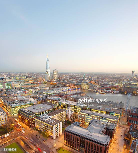 View of London and The Shard at dusk.