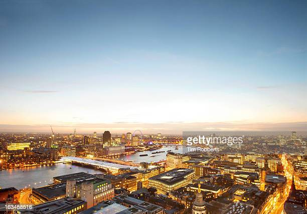 View of London and The Thames at dusk.