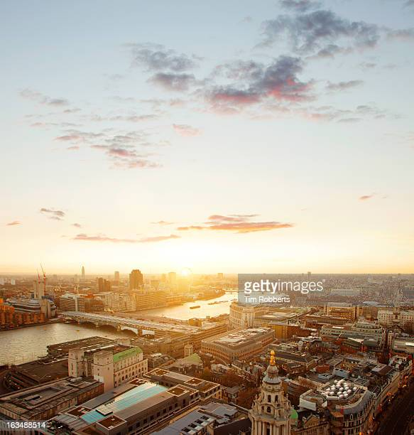 View of London and the Thames at sunset.