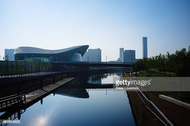 CONTENT] View of London Aquatics Centre Modern former Olympic venue with striking waveshaped roof and pools for diving and swimming