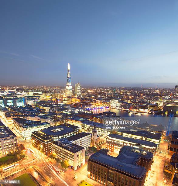 View of London at night, looking towards The Shard