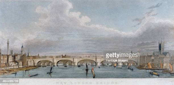 View of London Bridge from the west with boats on the River Thames 1829
