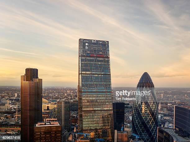 View of London financial district