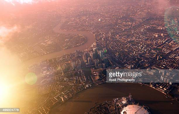 View of London from aircraft at sunset