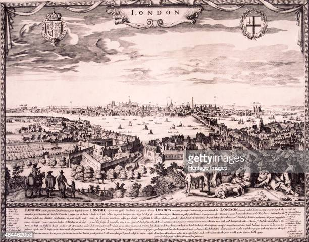 View of London from Southwark 1710 looking north across the River Thames to the City of London 1710 with figures dogs and a horse on the hill in the...