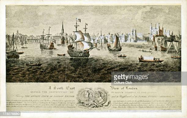 View of London from the South East c1560 Shows boats and ships on the Thames and a view of London including the steeple of St Paul 's Church before...