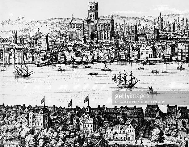 View of London with The Globe theatre engraving from 1650 United Kingdom 17th century