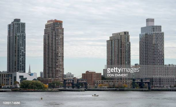 A view of Long Island City in the Queens borough of New York along the East River taken from Manahattan on November 7 2018 Amazon is planning to...