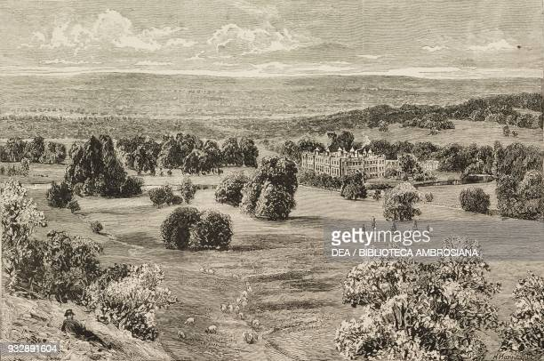 View of Longleat House and its garden from Heaven's gate Wiltshire England United Kingdom illustration from the magazine The Graphic volume XXIV no...