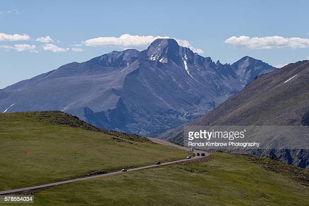 view of long's peak from trail ridge road - trail ridge road colorado stock photos and pictures