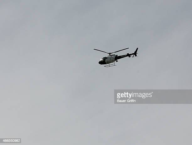 View of Los Angeles Police helicopter in Los Angeles on March 16 2015 in Los Angeles California