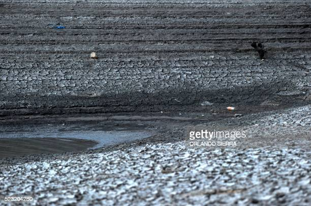 View of Los Laureles reservoir during a drought on Earth Day in the southern outskirts of Tegucigalpa on April 22 2016 Los Laureles supplies water to...