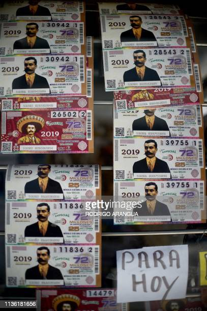 View of lottery tickets depicting Mexican revolutionary leader Emiliano Zapata in Mexico City on April 10 2019 April 10 marks the 100th anniversary...