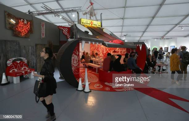 View of lounge area at Scope Art Fair as part of the 2018 Art Basel Miami Beach on December 8 2018 in Miami Beach Florida