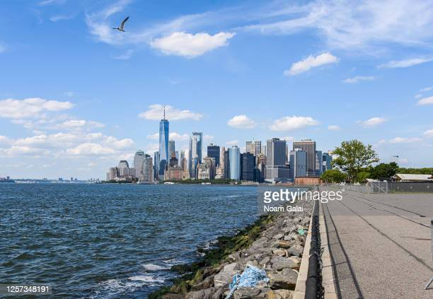 View of lower Manhattan as seen from the newly reopened Governors Island as the city enters Phase 4 of re-opening following restrictions imposed to...