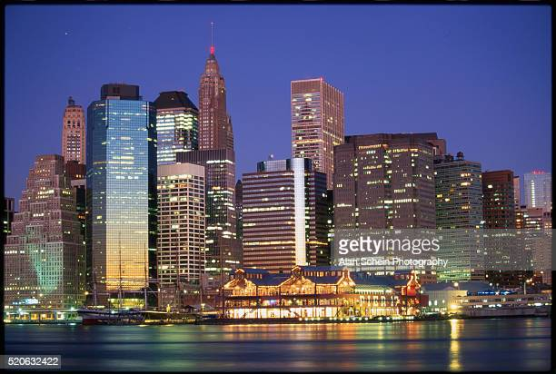 view of lower manhattan - south street seaport stock photos and pictures