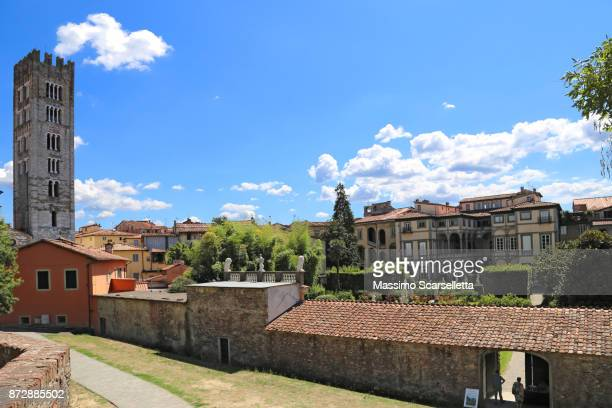 A view of Lucca old town from its wall. Lucca, Tuscany, Italy