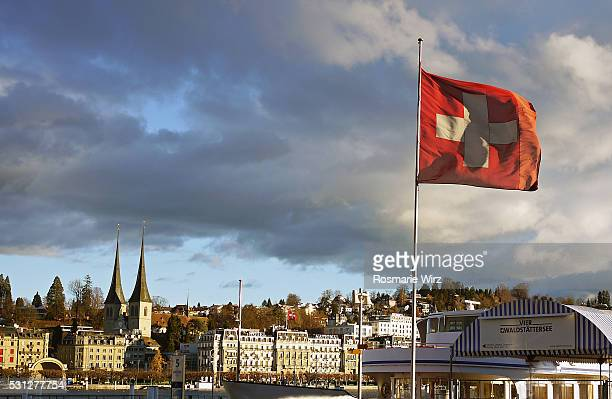 View of Lucerne skyline with Swiss flag
