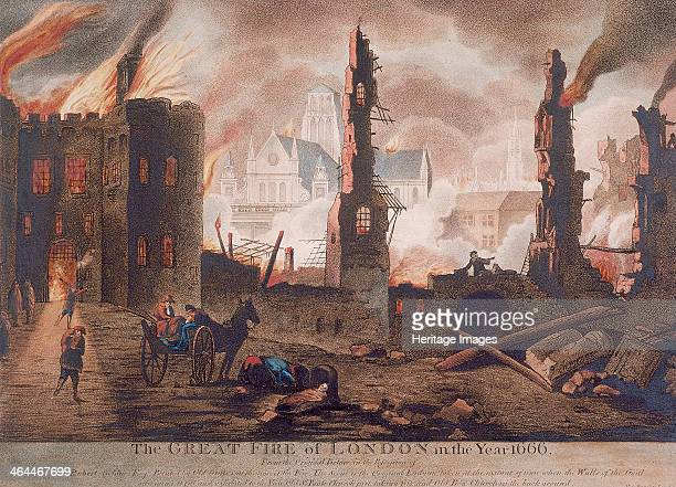 View of Ludgate, London, 1792; showing the gate on fire during the Great Fire of London 1666 at the point when the walls of Ludgate Gaol fell. Also...