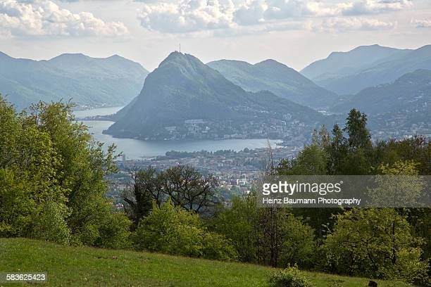 View of Lugano and Monte San Salvatore