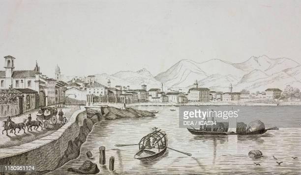View of Lugano engraving from La Svizzera pittoresca e i suoi dintorni by Alexandre Martin Mendrisio 1838