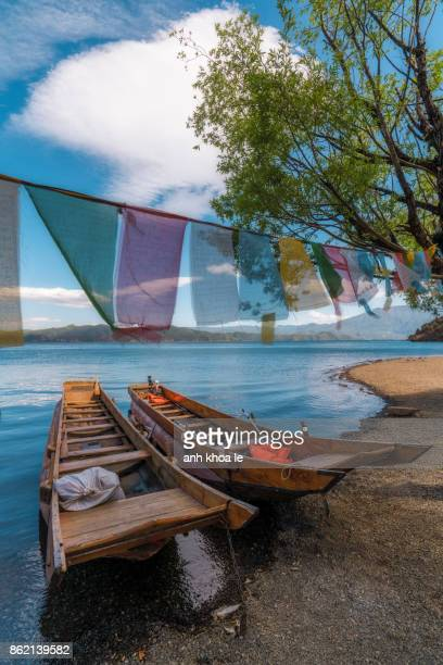 view of lugu lake, yunnan, china - yunnan province stock pictures, royalty-free photos & images