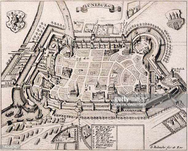View of Luneburg, Germany 17th Century. Engraving.