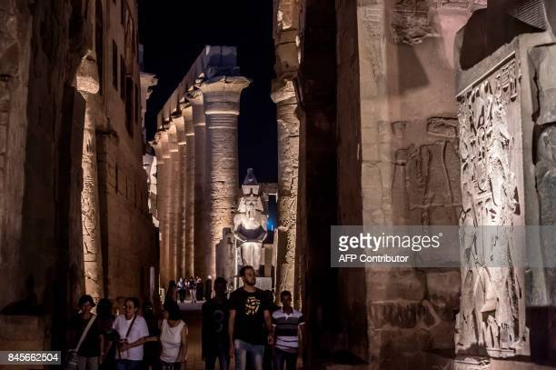 A view of Luxor Temple in the southern Egyptian town of Luxor on September 9 2017 / AFP PHOTO / KHALED DESOUKI