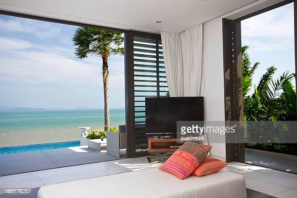 View of luxurious bedroom on beach