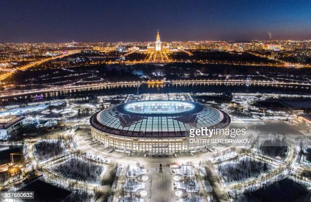 A view of Luzhniki stadium before the lights are turned off for the Earth Hour environmental campaign in Moscow on March 24 2018