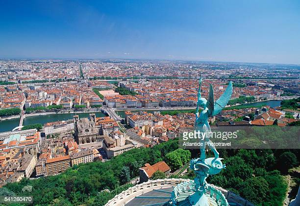 View of Lyon and Statue