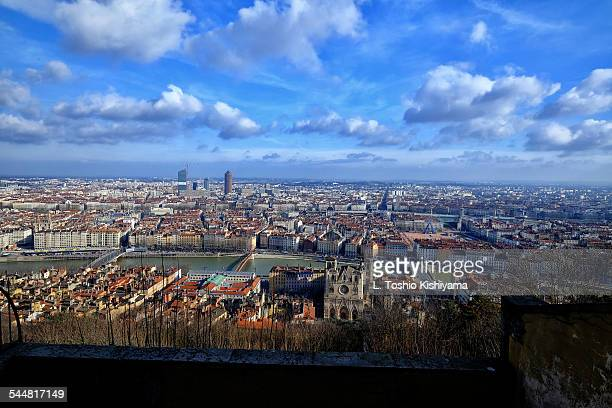 View of Lyon, France, and the Saone River