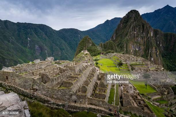 View of Machu Picchu, a famous Inca site in Peru